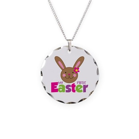 Girl Easter Bunny 1st Easter Necklace Circle Charm
