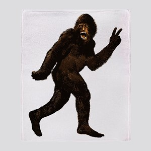 Bigfoot Yeti Sasquatch Peace Throw Blanket