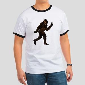 Bigfoot Yeti Sasquatch Peace Ringer T