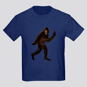Bigfoot Yeti Sasquatch Peace Kids Dark T-Shirt