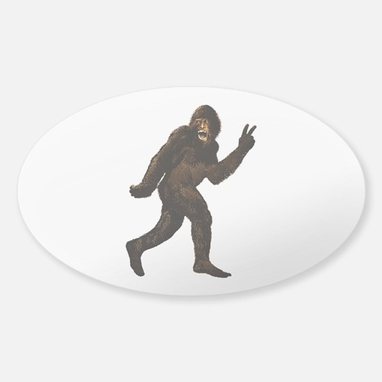 Bigfoot Yeti Sasquatch Peace Sticker (Oval)