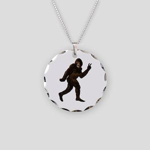 Bigfoot Yeti Sasquatch Peace Necklace Circle Charm