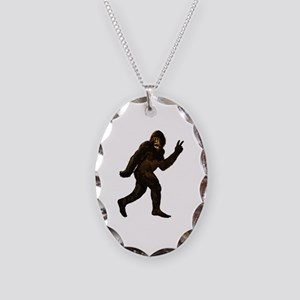 Bigfoot Yeti Sasquatch Peace Necklace Oval Charm