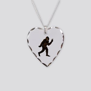 Bigfoot Yeti Sasquatch Peace Necklace Heart Charm