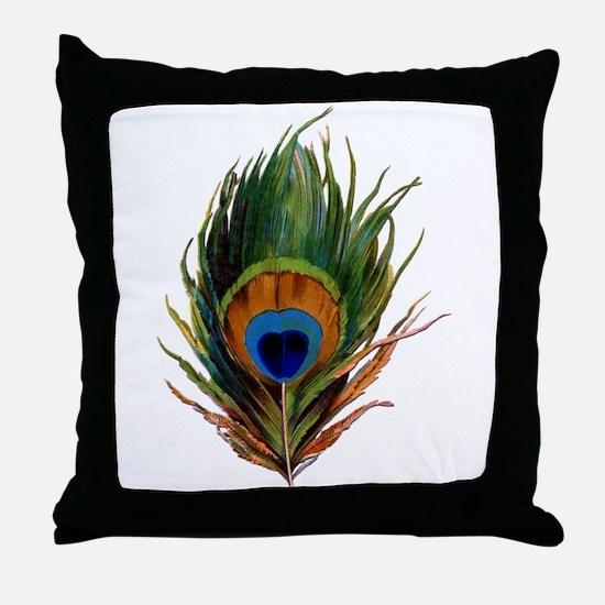 Peacock Plume Throw Pillow