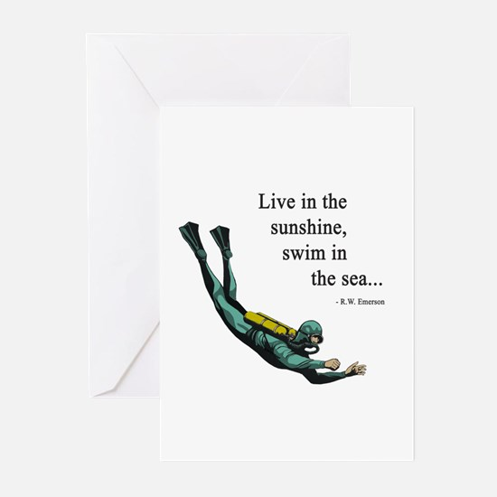 Sea Scuba Diver Greeting Cards (Pk of 20)