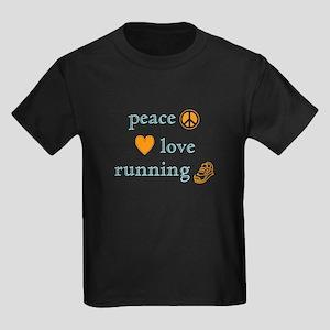 Peace, Love and Running Kids Dark T-Shirt