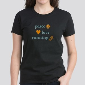 Peace, Love and Running Women's Dark T-Shirt