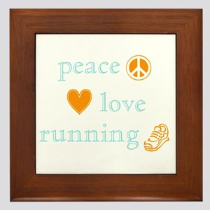Peace, Love and Running Framed Tile