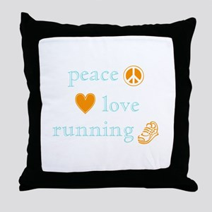 Peace, Love and Running Throw Pillow