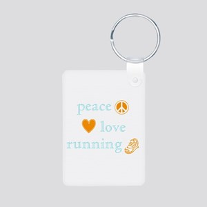 Peace, Love and Running Aluminum Photo Keychain