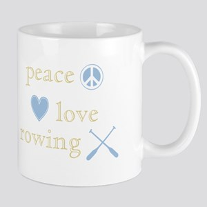 Peace, Love and Rowing Mug