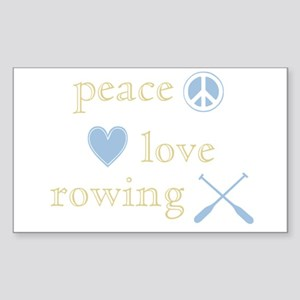 Peace, Love and Rowing Sticker (Rectangle)