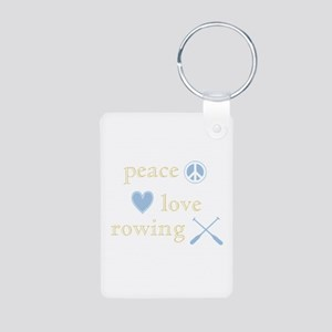 Peace, Love and Rowing Aluminum Photo Keychain