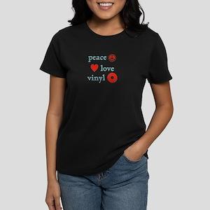 Peace, Love and Vinyl Women's Dark T-Shirt
