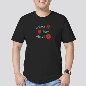 Peace, Love and Vinyl Men's Fitted T-Shirt (dark)