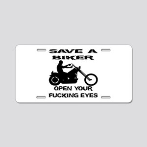 Save A Biker Aluminum License Plate