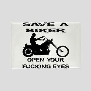 Save A Biker Rectangle Magnet