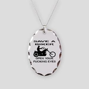 Save A Biker Necklace Oval Charm
