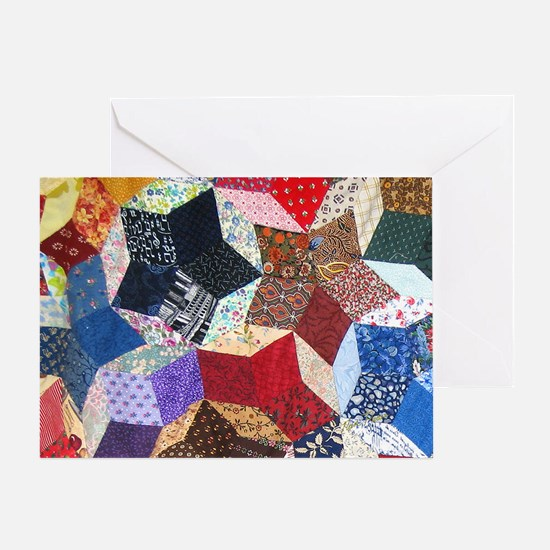 Tumbling Block Patchwork Quilt Greeting Card