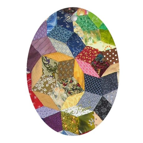 Tumbling Block Patchwork Quilt Ornament (Oval)