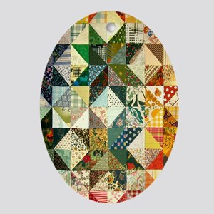 Fun Patchwork Quilt Ornament (Oval)