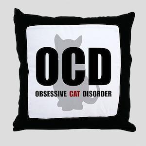 OCD Cat Throw Pillow