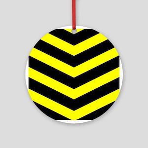 Black/Yellow Chevron Ornament (Round)