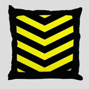 Black/Yellow Chevron Throw Pillow