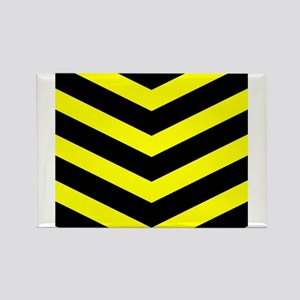 Black/Yellow Chevron Rectangle Magnet