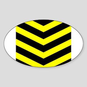 Black/Yellow Chevron Sticker (Oval)