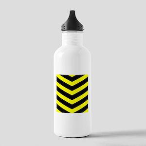 Black/Yellow Chevron Stainless Water Bottle 1.0L