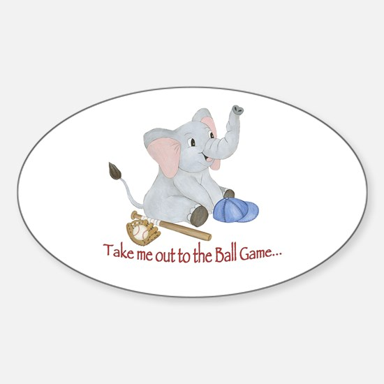 Baseball Elephant Sticker (Oval)