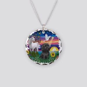 MagicalNight-BlkShihTzu Necklace Circle Charm