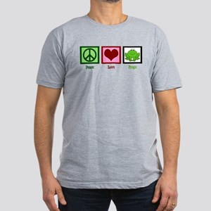 Peace Love Frogs Men's Fitted T-Shirt (dark)