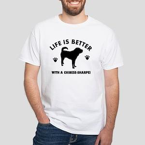 Chinese Sharpie Breed Design White T-Shirt