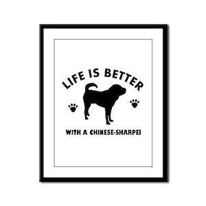 Chinese Sharpie Breed Design Framed Panel Print