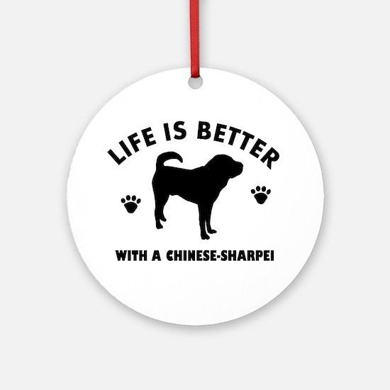 Chinese Sharpie Breed Design Ornament (Round)