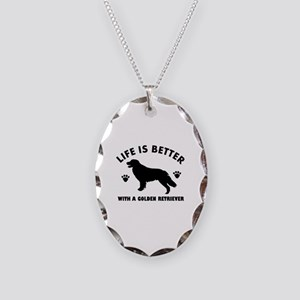 Golden retriever breed Design Necklace Oval Charm
