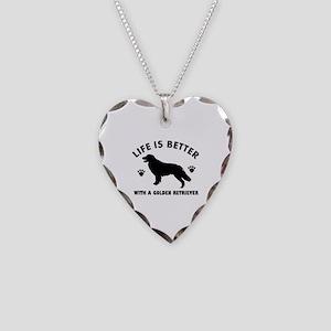 Golden retriever breed Design Necklace Heart Charm