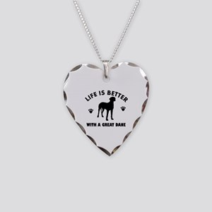 Great Dane breed Design Necklace Heart Charm