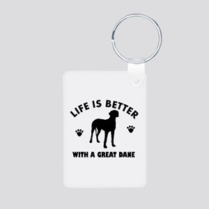 Great Dane breed Design Aluminum Photo Keychain
