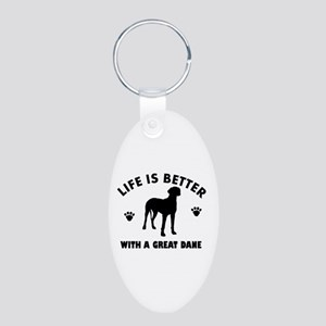 Great Dane breed Design Aluminum Oval Keychain