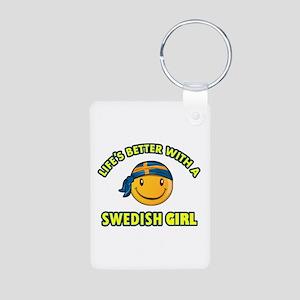 Cute Swedish girl designs Aluminum Photo Keychain