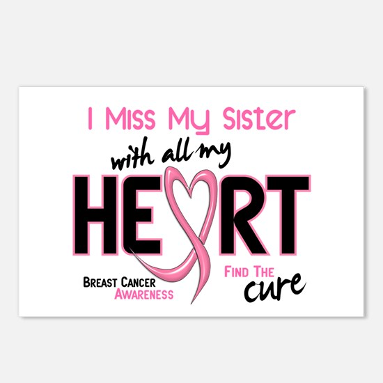 Miss With All My Heart Breast Cancer Postcards (Pa