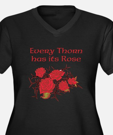 Every Thorn - Rose Women's Plus Size V-Neck Dark T