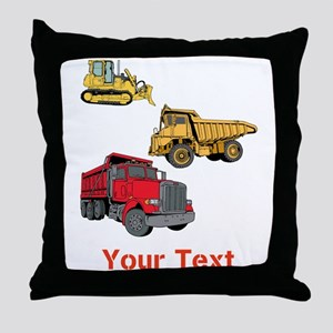 Works Site Vehicles and Text Throw Pillow
