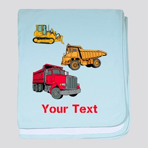 Works Site Vehicles and Text baby blanket