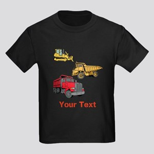 Works Site Vehicles and Text Kids Dark T-Shirt