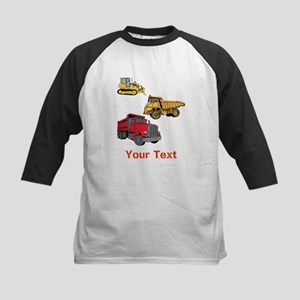 Works Site Vehicles and Text Kids Baseball Jersey